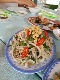 Chewy snake meat in a salad
